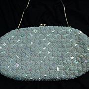 SALE Vintage White Satin Handbag, Iridescent Sequins, Simulated Pearl Beads
