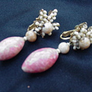 Miriam Haskell Clip-On Earrings, Tiny Beads, Drops, Ivory and Peach