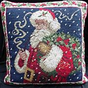 SALE PENDING Vintage Portrait of Santa , Needlepoint Pillow