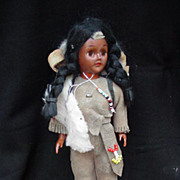 Vintage Hard Plastic Indian Princess Doll Dressed in Original Costume