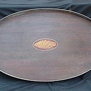 Large Mahogany Gallery Tray w Inlaid Shell Design and Silverplated Handles & Side