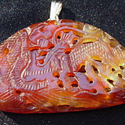 Carnelian Pendant w 14 Kt. Gold Clasp, Carved & Reticulated