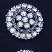 Fabulous Pair Aurora Borealis Rhinestone Coat Buttons in Metal Backing