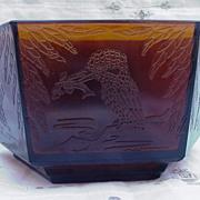 Unusual Six-Sided Amber Pressed Glass Bowl, Kingfisher Bird, Centipede Mark