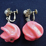 Miriam Haskell Clip & Screw On Earrings, Big Dangling Salmon-Colored Bead