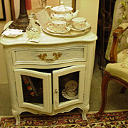 Vintage French Style Side Table or Stand, Double Doors, Grill Work