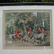 "Alkin English Hunting Scene Print, ""The Death"", Hand-Colored Print"