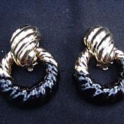 Ciner Clip Earrings, Black Enamel and Gold-Toned Loops