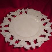 SALE PENDING 1903 Milk Glass Plate with Eagles, Flags and Fleur de Lis Border