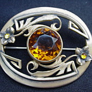 Big Brass Brooch w Topaz Colored Center Stone, Flowers