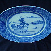 Large 19th C. Japanese Oval Blue and White Platter, Scenic Center