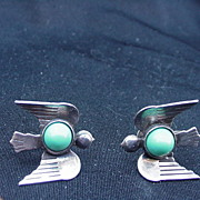 Mexico Silver Bird Earrings, Screw Backs, Turquoise Cab Stones