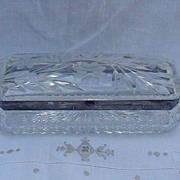 REDUCED Victorian Style Cut Glass Glove Box w Leaves & Flowers, Silverplated Frame