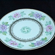 German Porcelain Dessert/Salad Plate w Clematis and Roses