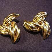 Givenchy Goldtone Metal Clip Earrings, Trefoil Shape