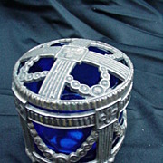 REDUCED Reticulated Silverplated Potpourri w Pierced Lid, Cobalt Liner