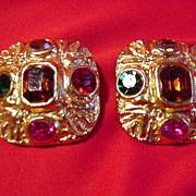 Vintage Goldtone Square, Clip Earrings w Faux Stones