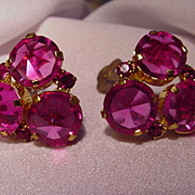 Austrian Cut Pink Crystal Clip Earrings, Prong-Mounted in Goldtone Setting