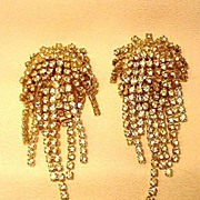 REDUCED Rhinestone Clip Earrings with Rows of Dangling Rhinestones
