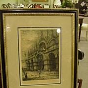 REDUCED Etching of St. Mark's, Venice, Newly Framed