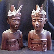 REDUCED Pair of Vintage Bali Wood Carvings