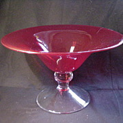 REDUCED Vintage Ruby Glass Compote, Clear Pedestal Base