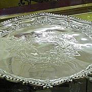 REDUCED English Silverplated Salver w Engraved Center, Upturned Edge, Three Feet