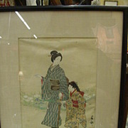 REDUCED 1894 Japanese Woodblock Print, Shumko