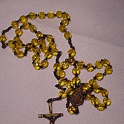 SALE Early 20th C. Rosary Necklace w Yellow Glass Beads