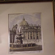 REDUCED Vintage, Signed Woven Silk Picture of St. Peter's Basilica, Rome