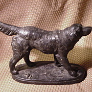 Spelter Dog Figure on Oval Spelter Base
