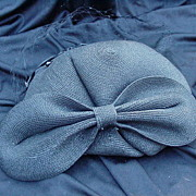 REDUCED Sassy Vintage Cocktail Hat, Black Straw, Huge Bow