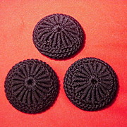 Set of Three Black Crocheted Vintage Coat Buttons