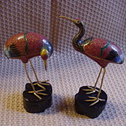 SALE Pair of Vintage Cloisonne Cranes