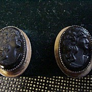 Pair of Black Cameo Earrings, Screwbacks, Female Head