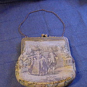 REDUCED Fine Petit Point Purse w Man & Woman Strolling in English Garden