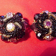 Vintage Black Bead and Iridescent Rhinestone Clip Earrings