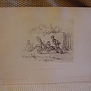 SALE Print of Aus A. Hendschel's Sketchbook Drawing Mounted on Cover Stock