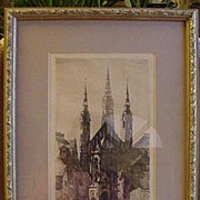 Framed Etching of Church in Munich, Signed by Artist