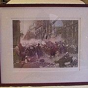 "SALE Photogravure Print Copyright 1893 ""Barricade of 1830"""