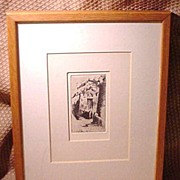 SALE Etching of Mission, Mission Bell, Southwest or California, Unsigned