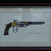 Savage North Revolver, Framed, Artist Signed Hand-Colored Print