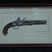 James W. Kalman Flintlock Pistol Signed Print, S. North, Model 1808
