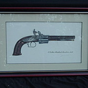 James W. Kalman Print of Fancy Flintlock Revolver by E. Collier, Artist Signed