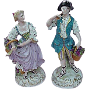 Pair French Porcelain Figurines, Man & Woman Harvesting Grapes