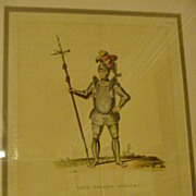 SALE Hand-Colored Plate Engraving of Knight in Long Bellied Armour