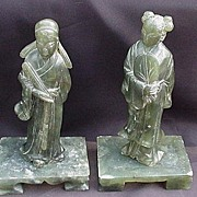 SALE Pair of Chinese Soapstone Figures on Rectangular Bases