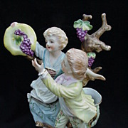 SALE Camille Nadot, French Porcelain Figurine of Two Children Picking Grapes