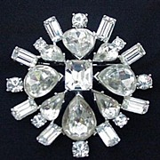 REDUCED Fabulous Rhinestone Pin, All Prong Mounted Stones, Silvertone Metal