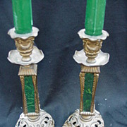 SALE Pair of Antique Brass & Malachite Candlesticks